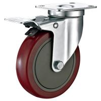 Buy cheap 5X1-1/4 Industrial Trolley PU Caster Wheel With Total Locking Brakes Heavy Duty from wholesalers