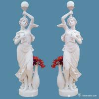 China Outdoor Garden White Marble Stone Sculpture Double Figures Weathering Resistance on sale