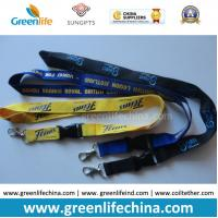 Buy cheap Eco-friendly knitted polyester flat customized lanyard with metal hook or swivel hook from wholesalers