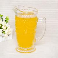 Pressed thick glass pitcher clear glass water juice pitcher embossed pattern juice pitcher Manufactures