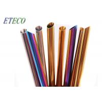 Buy cheap Straight Reusable Smoothie Straws , Rainbow Colored Metal Bar Straws from wholesalers