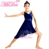 Buy cheap Blue Lyrical Dance Competition Costumes Sequin V Neck Knee Length Dress from wholesalers