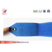 Buy cheap Label Attached Blue Hook Loop Cable Band With Metallic Buckle And Particular Logo from wholesalers