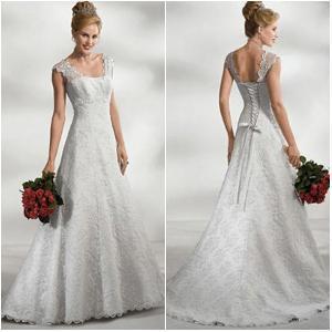 Romantic Exotic Lace Fabric Elegant Style White Wedding Dress Manufactures