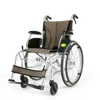 Buy cheap YMTC-45 Dark Brown Folding Self-propelled ManualTransport Chair Wheelchair in Ultralight Aluminum Alloy with Folding Bac from wholesalers