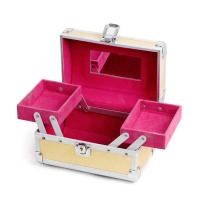 Wholesale Yellow Women Makeup Storage Box Beauty Travel Case Mirror Flock Customized from china suppliers
