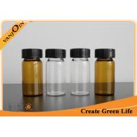 Buy cheap 20ml Clear Or Amber Empty Small Glass Vials With Plastic Screw Cap , Brown Glass Bottles from wholesalers