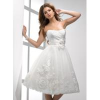 Buy cheap Fall A linie Organza Short Brides Dresses With Flowers Waist Band from wholesalers