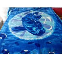 China Antistatic Hospital Acrylic Mink Blanket Double Bed With Blue Printing on sale
