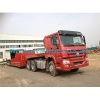Wholesale Red HOWO 2 Axles Semi Trailer Trucks , Flat Low Bed Trailer 30 Ton from china suppliers