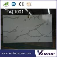Buy cheap 2cm Solid Surface Slab Calacatta White Quartz Stone Slab for Wall Cladding from wholesalers