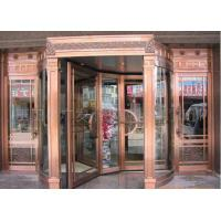 Wholesale Bronze Engraving Flower Hotel entrance automatic revolving door OEM service from china suppliers