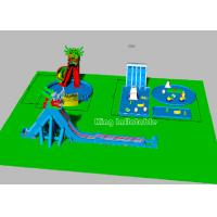 Buy cheap Children Big Dragon Inflatable Water Parks With Blue Water Pool Colorful Strong from wholesalers