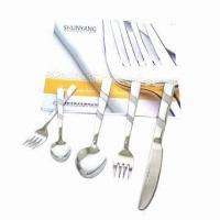 Buy cheap Stainless Steel Cutlery Set, Customized Designs Welcomed, Includes Knife/Spoon/Fork/Teaspoon/Teafork from wholesalers