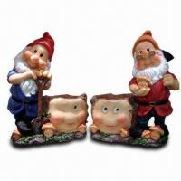 Buy cheap Polyresin Gnome with Flower Pot, Made of Polyresin from wholesalers