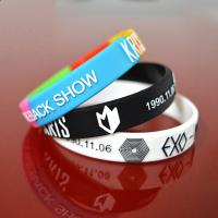 Wholesale Embossed with color silicone bracelets wristband from china suppliers