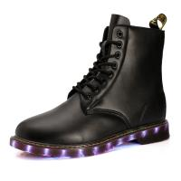 Buy cheap USB shoes charging shoes LED lights shoes men boots all sizes pu uppper RB sole black or brown from wholesalers