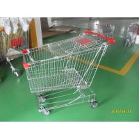 180L Anti Theft Supermarket Push Cart Zinc Plating With Bottom Carrier