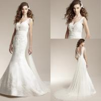 Wholesale V-neck Satin Wedding Dresses for Ladies , Ruffled Bridal Dresses from china suppliers
