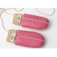 Buy cheap Warmest Hand Sewn Baby Sheepskin Mittens With Light Pink Cuff from wholesalers