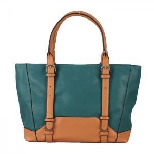 China Large Satchel Green Yellow Single Strap Handbags  , Square Soft Leather Handbags on sale