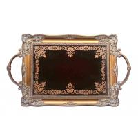 Wholesale Handcrafted Small Mirrored Vanity Tray With Branch Handle Scrolling Designs from china suppliers