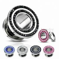 Wholesale 2 Rims Steel Jet Ear Flesh Tunnels With CZ Stone Surround For Anniversary from china suppliers