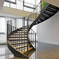 Buy cheap American building code unique design steel wood arc stairs with metal rails from wholesalers