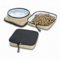 Wholesale Pet Travel Bowl Set with Two Food and Water Bowls in One, Measures 4cm in Height from china suppliers