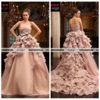 Buy cheap Real Sample Pink Organza Off Shoulder Floor Length Wedding Gown from wholesalers
