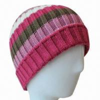 Buy cheap Women's Acrylic Knitted Beanie Hat, Flammability from wholesalers
