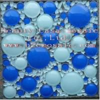 Buy cheap White and Blue 3D Ronnd Glass Mosaic Tile from wholesalers