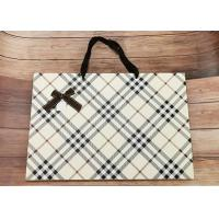 Buy cheap Luxury Check Pattern Reusable Kraft Paper Packaging Bags Big Size With Silk Ribbon from wholesalers