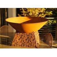 Contemporary Design Corten Steel Fire Pit Bowl With Leaf Stand Rusty Finish