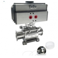 Buy cheap Pneumatic DN10~DN100 1/2in 3 Way Sanitary Ball Valve With Spring Actuator from wholesalers