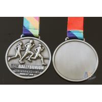 Wholesale Half Marathon Or 10K Running Custom Sports Medals Antique Silver Plating Sublimated Ribbon from china suppliers