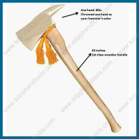 Buy cheap chrome firefighter axe with ash hickory wood handle, chrome plated fire fighting axe, chrome pick head axe from wholesalers