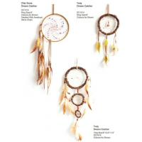 Buy cheap Fashion Wind Chimes Indian Style Feather Leather Gold Dream Catcher for Home Decor Hanging Decoration Nice Gift from wholesalers