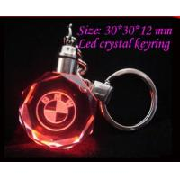 Buy cheap portable 3d laser mini led logo crystal gifts key ring tactical flashlight unique keychain from wholesalers