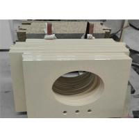Buy cheap Hotel Project Quartz Bathroom Vanity Tops Pure Beige With Eased Edges from wholesalers