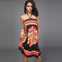 Buy cheap Women's  Summer Hot Sale Ethnic Style Printed Sling Wrapped Chest Halter Short Dress from wholesalers