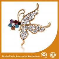 Wholesale Customized Handmade Metal Brooches Crystal Butterfly Brooches Jewellery from china suppliers