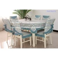 China Retro blue plaid cotton tablecloth and chair cover set for six seater table, on sale