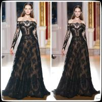 Buy cheap Black Zuhair Murad Long Sleeves Evening Party Dresses With A Line , Celebrity Prom Gowns from wholesalers