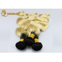 Buy cheap European Ombre Color Human Hair Extensions 1b / 613 Double Drawn Hair Weft from wholesalers