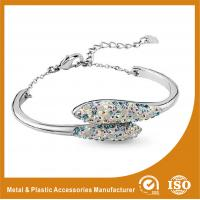 Wholesale Women Charm Stainless Steel Silver Bangle Bracelets With White Zircon from china suppliers