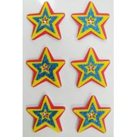Custom Cartoon decor star PET Fuzzy Stickers For Wall , 80mm x 120 mm Manufactures