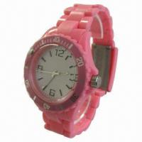 Buy cheap Waterproof Rotary Women's/Plastic Watch with Rotatable Plastic Bezel on Case from wholesalers