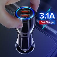 Buy cheap 18W 3.1A Car Charger Quick Charge 3.0 Universal Dual USB Fast Charging QC For iPhone Samsung Xiaomi Mobile Phone In Car from wholesalers