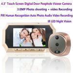 "4.3"" Digital Door Peephole Viewer Photo Video Camera Recorder Night Vision Door Eye Smart PIR Doorbell Intercom System Manufactures"